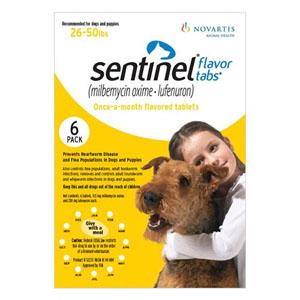 Sentinel Dogs 26-50 Lbs Yellow 6 Chews