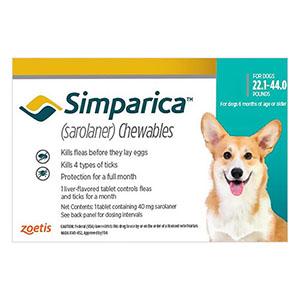 Simparica Oral Flea & Tick Preventive For Dogs 22.1-44 Lbs Blue 1 Pack
