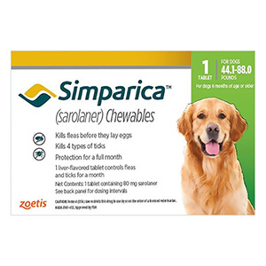 Simparica Oral Flea & Tick Preventive For Dogs 44.1-88 Lbs Green 3 Pack