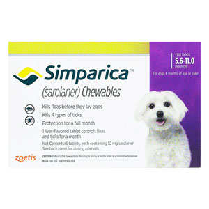 Simparica Oral Flea & Tick Preventive For Dogs 5.6-11 Lbs Purple 3 Pack