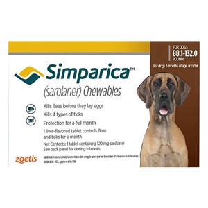 Simparica Oral Flea & Tick Preventive For Dogs Above 88 Lbs Red 1 Pack
