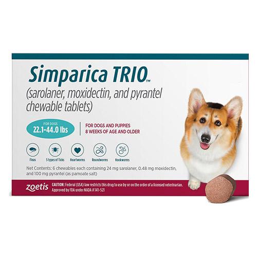 bestvetcare.com - Simparica Trio For Dogs 22.1-44 Lbs (Teal) 3 Chews 74.85 USD