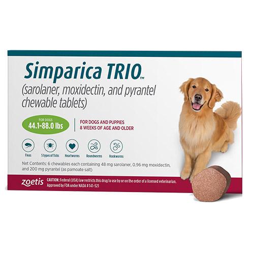 bestvetcare.com - Simparica Trio For Dogs 44.1-88 Lbs (Green) 3 Chews 77.00 USD