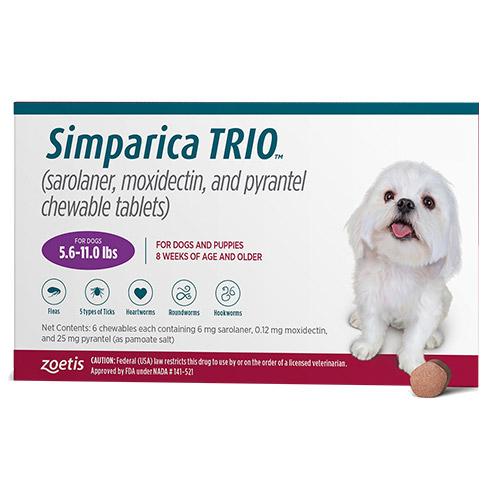 bestvetcare.com - Simparica Trio For Dogs 5.6-11 Lbs (Purple) 3 Chews 67.36 USD