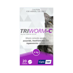 Triworm-C Dewormer For Cats 2 Tablet